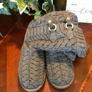 UGG Gray Tularosa Buckle Knit Boots